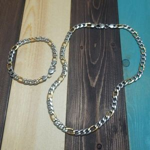 "24"" Stainless Steel 9mm Figaro Chain With Bracelet"